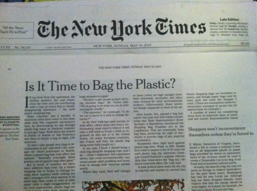 NY Times article about Time to Bag Plastic